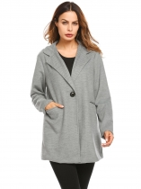 Gray Turn-down Collar Long Sleeve Solid Button Pocket Winter Warm Basic Coat