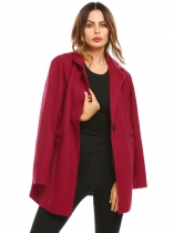 Wine red Turn-down Collar Long Sleeve Solid Button Pocket Winter Warm Basic Coat