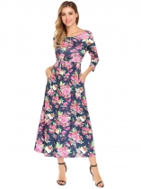 Navy blue Women Casual 3/4 Sleeve Floral Maxi Dress