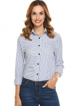 Black Women Long Sleeve Stripe Button Down Casual Shirt