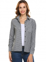 White Women Long Sleeve Stripe Button Down Casual Shirt