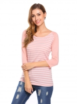 Pink Women O Neck 3/4 Sleeve Contrast Color Patchwork Striped T-Shirt Blouse Tops