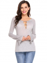 Gray Women V-Neck Front Cut-out Long Sleeve Baselayer Top T-shirt