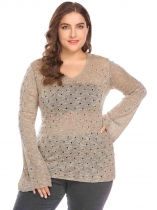 Khaki Women V-Neck Flare Sleeve Slim Fit Hole Casual Pullover Sweater Plus Size