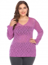 Purple Women V-Neck Flare Sleeve Slim Fit Hole Casual Pullover Sweater Plus Size