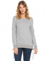 Light gray Women Round Collar Criss Cross Lace Up Side Solid Casual Pullover Sweatshirt