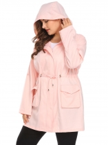 Pink Women Hooded Roll Up Sleeve Drawstring Solid Casual Trench Coat Plus Size