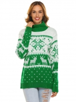 Green Women High Neck Long Sleeve Knitted Christmas Pattern Printed Pullover Sweater