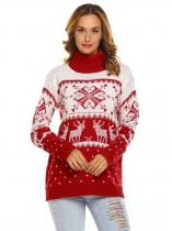 Red Women High Neck Long Sleeve Knitted Christmas Pattern Printed Pullover Sweater