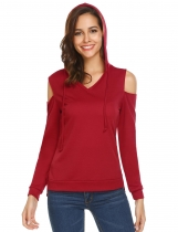 Wine red Women Casual Hooded Drawstring Cold the Shoulder Long Sleeve Hem Split Hoodie