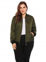 Army green Women Classic Stand Collar Zip Up Patchwork Casual Bomber Jacket Plus Size