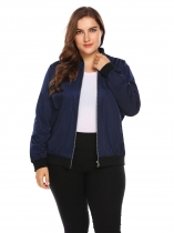 Dark blue Women Classic Stand Collar Zip Up Patchwork Casual Bomber Jacket Plus Size