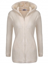 Beige Women Warm Cute Hooded Zip Up Solid Loose Fit Casual Fleece Hoodie Coat