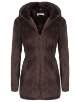 Brown Women Warm Cute Hooded Zip Up Solid Loose Fit Casual Fleece Hoodie Coat