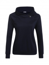 Dark blue Women Fashion Cowl Neck Long Sleeve Solid Button Pockets Tops