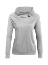 Light gray Women Fashion Cowl Neck Long Sleeve Solid Button Pockets Tops