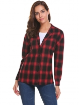 Red Women Casual V-Neck Long Sleeve Plaid Button Shirt
