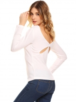 White Women V-Neck Long Sleeve Back Cut-out T-Shirt Top