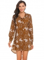 Wheat Long Sleeve Floral Casual Loose Fit Asymmetrical Button Front Shirt Dress
