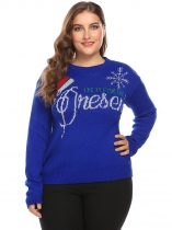 Dark blue Women O-Neck Long Sleeve Letter Casual Pullover Sweater Plus Size