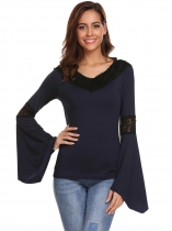 Azul marinho Mulheres Sexy V-Neck Flare Long Sleeve Lace Patchwork Comfy T-Shirt