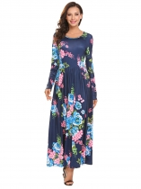 Blue Women Fashion O-Neck Long Sleeve Floral Striped Loose Maxi Dress