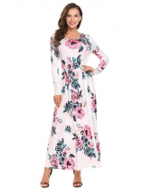 White Femmes Mode O cou à manches longues Floral Striped Loose Maxi Dress