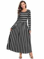 Black and White Women Fashion O-Neck Long Sleeve Floral Striped Loose Maxi Dress