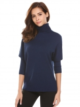 Dark blue Turtle Neck Batwing Sleeve Thread Hem and Cuffs Warm Pullover Sweater