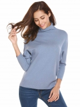 Grey Mulheres Casual Turtle Neck Batwing Sleeve Thread Hem and Cuffs Warm Pullover Sweater