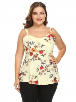 Yellow Women Sleeveless Floral Print Slim Fit Summer Peplum Top Plus Size