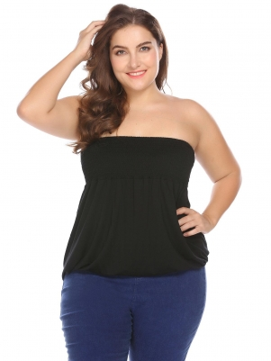 9e7921e8243 Black Strapless Casual Solid Size. VIEW ALL Casual Tops