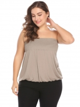 Khaki Strapless Sleeveless Shirring Solid Stretchy Casual Tube Top Plus Size