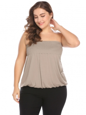 9f4f275bf3c Khaki Strapless Sleeveless Shirring Solid Stretchy Casual Tube Top Plus Size