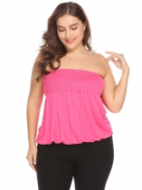 Rose red Femmes Sexy Sans Bretelles Manches Shirring Solide Stretchy Casual Tube Top Plus