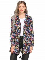 Black Hooded Long Sleeve Floral Lightweight Rain Coat