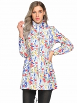 White Hooded Long Sleeve Floral Lightweight Rain Coat