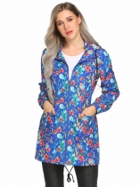 Blue Hooded Long Sleeve Floral Lightweight Rain Coat
