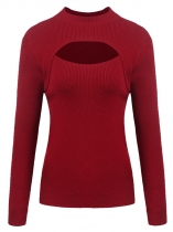 Wine red Women Casual Stand Collar Long Sleeve Solid Front Hollow Out Knitted Pullover Sweater