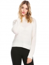 White Women Casual Stand Collar Long Sleeve Solid Winter Warm Knitted Sweater