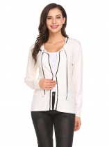 White Women Casual Long Sleeve Contrast Color Knitwear Sweater Cardigan