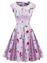 Light purple 1950s Vintage O-Neck Sleeveless Swing Party Dress