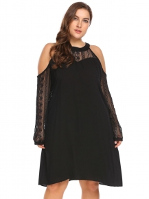 01cf45855db6aa Black Women O-Neck Cold Shoulder Long Sleeve Lace Patchwork Loose Going Out  Dress Plus