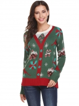 Green Women O-Neck Long Sleeve Christmas Print Casual Pullover Sweater