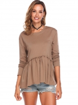 Beige Women Casual O Neck Long Sleeve Solid Ruffles Hem Pleated Blouse Tops