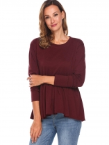 Wine red Women Casual O Neck Long Sleeve Solid Ruffles Hem Pleated Blouse Tops