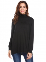 Black Women Casual Turtle Neck Long Sleeve Solid A-Line Regular Fit Sexy Blouse Casual Tops