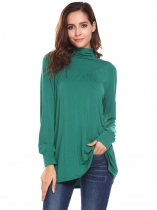 Green black Women Casual Turtle Neck Long Sleeve Solid A-Line Regular Fit Sexy Blouse Casual Tops