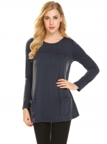 Dark gray Femmes Casual O cou à manches longues solide volants Pocket Regular Fit Sexy Blouse T shirt Hauts