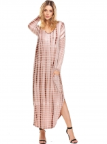 Coffee Women Casual Loose Long Sleeve Split Tie Dye Maxi Dress